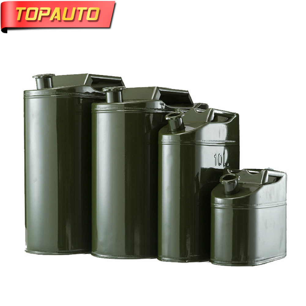 TopAuto 5L 10L Gasoline Diesel Fuel Tank Can Metal Iron Alloy Oil Drum Portable Petrol Barrel Car SUV Motorcycle Tricycle цена и фото