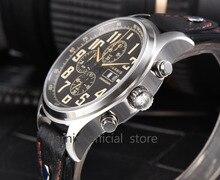 43mm Parnis Brand Quartz Watch Men Three Small Dial Chronograph Week Calendar 100M Leather Quartz Pilot Military Men's Watches