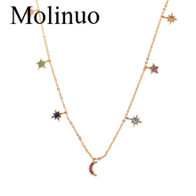 Molinuo delicate hang colorful cz star moon drop charm choker necklace elegance fashion women jewelry 2019