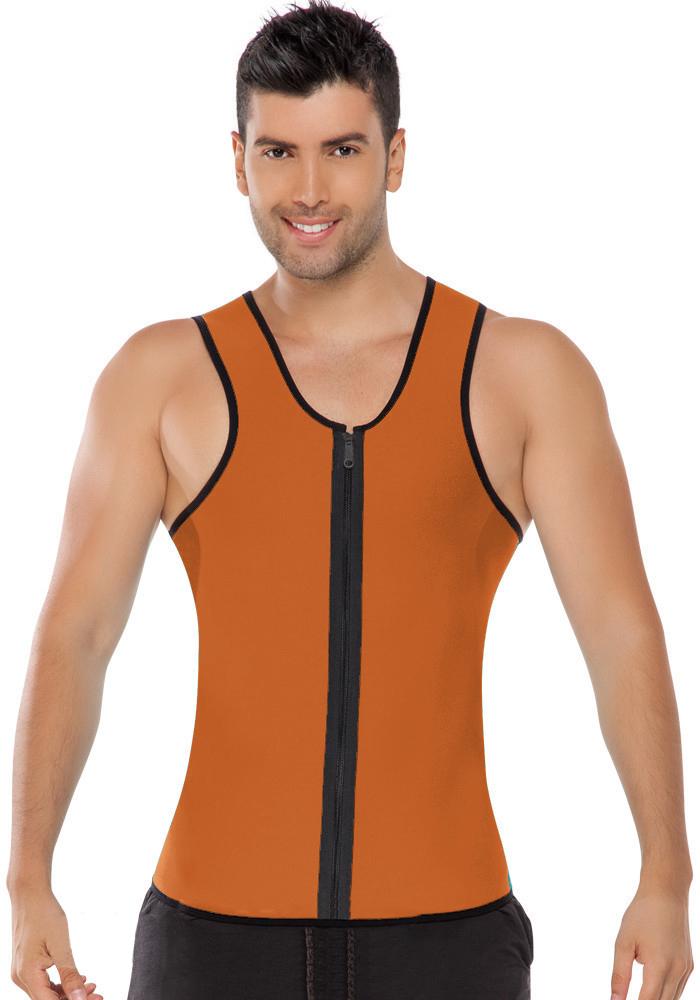 Men Latex Ultra Sweat Hot Waist Trainer Body Shaper Slimming Fit Vest Neoprene Front Zipper Fat Borning Control Top Shapewear (10)