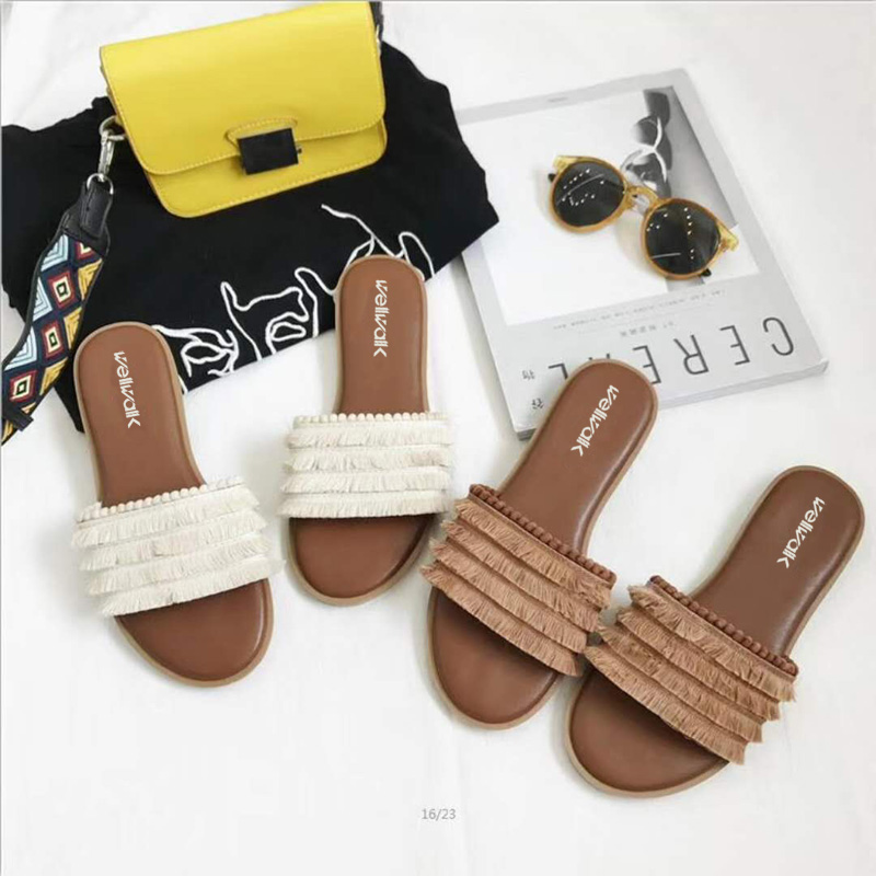 Causal Women Shoes 2018 Fashion Women Fringe Slides Women Solid Flat Slippers Spring Outside Summer Women Mules Size 34-39