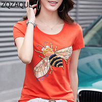 High Quality Summer Cool Tops T-Shirts For Women Fashion Diamonds Beading Bee Hand Made Drill Oversize Sequined Nice Tops 4XL