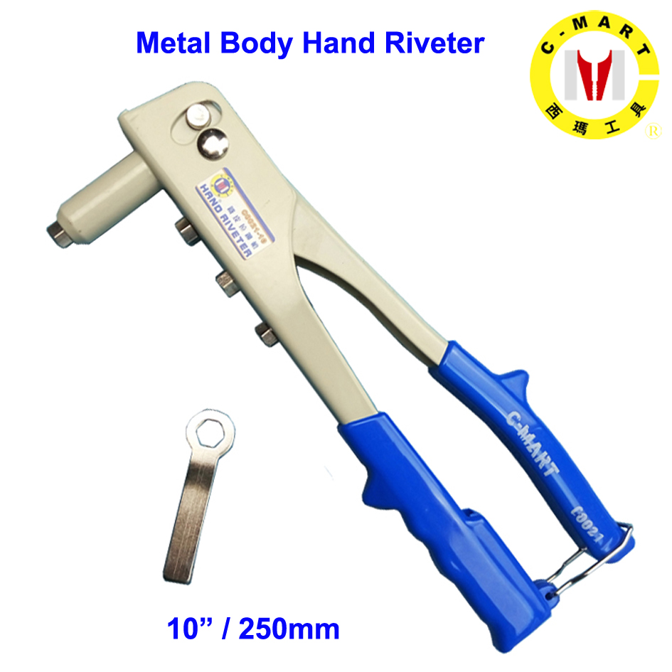 C-mart Hand Tools 10 Inch Metal Body Hand Riveter Nail Hitter Rivet Gun Rivet Device 2.4,3.2,4.0,4.8 Hand Riveter Double Handle