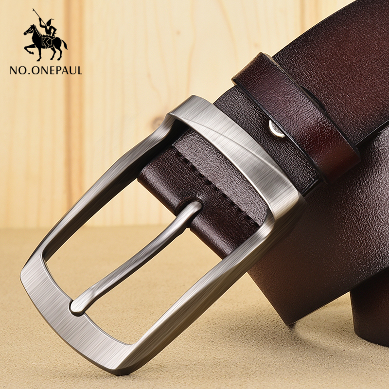 NO.ONEPAUL Genuine Men's Leather Retro Business Belt High Quality Alloy Pin Buckle Designer New Men's Belt Jeans Free Shipping