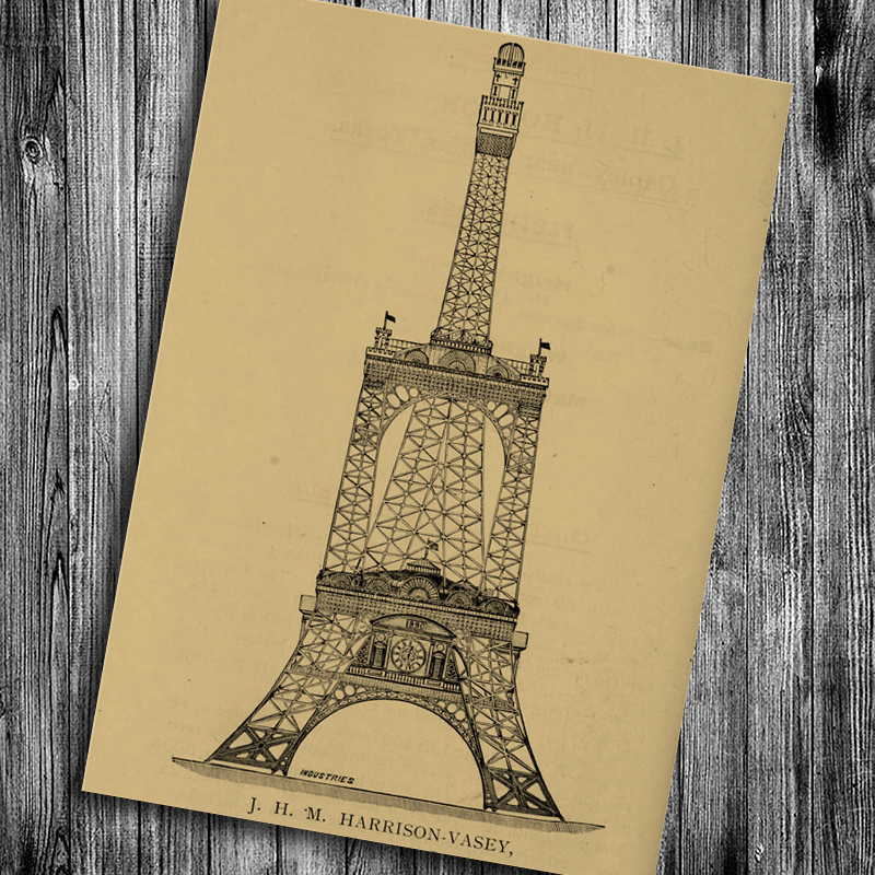 Hot sale Paris Eiffel Tower vintage poster wall sticker retro kraft ...