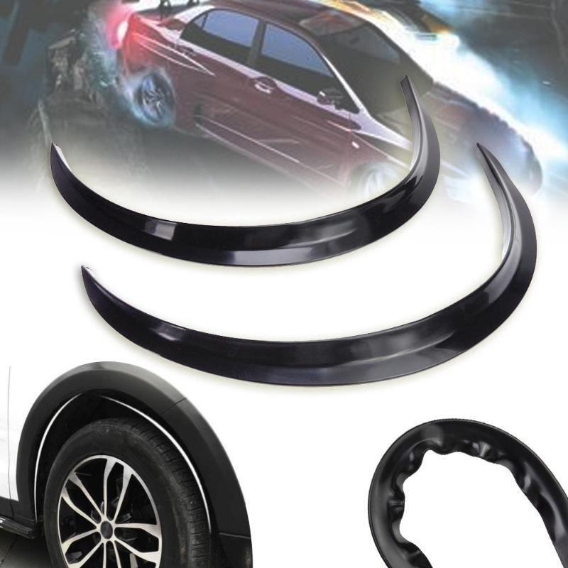 2 uds guardabarros de coche bengalas Arco de la rueda de la ceja Protector/guardabarros pegatina extensión Protector de arcos ancho rayas coche Styling