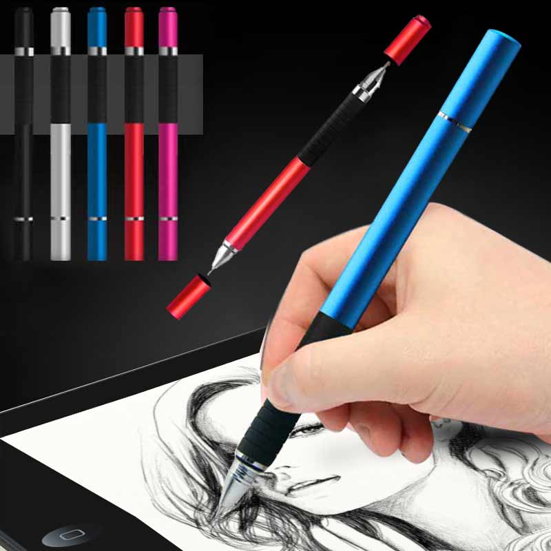 New 2 in 1 Stylus Ballpen Metal Capacitive Ballpoint Pen for Touch Screen iPhone iPad Tablet