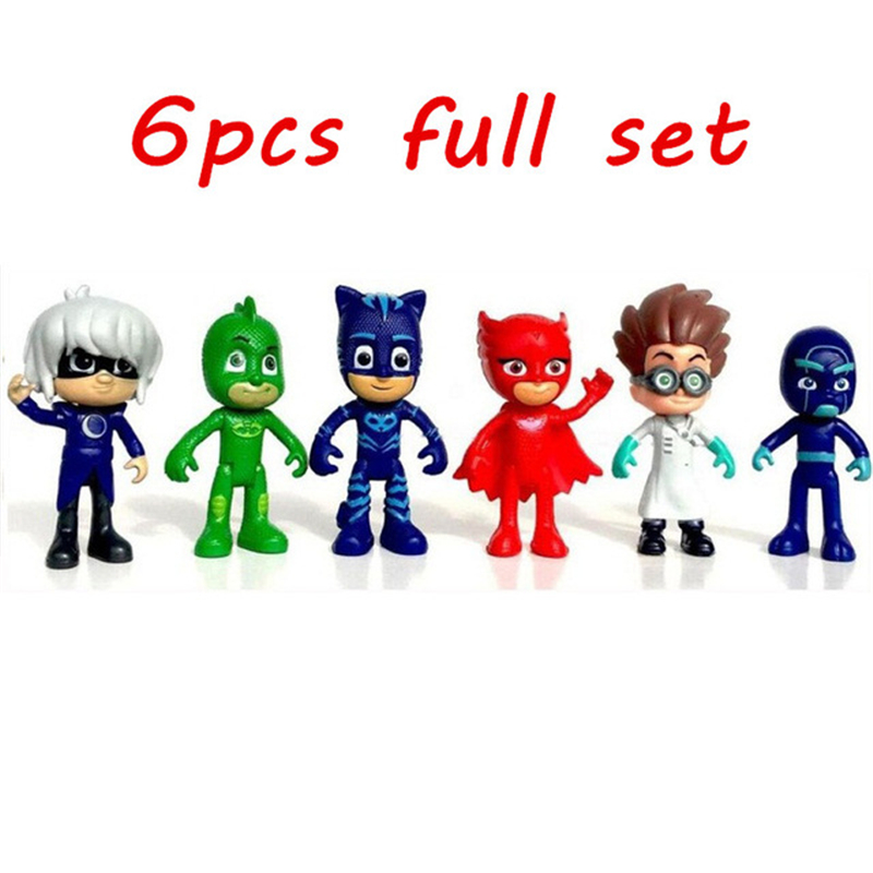 pjmasks figure 6pcs/set 8-9cm Pj Masks Characters Catboy Owlette Gekko Cloak Action Figure Toys Boy Birthday Gift Plastic Dolls pj cartoon pj masks command center car parking toy lot car characters catboy owlette gekko masked figure toys kids party gift