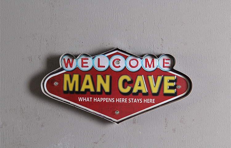 Man Cave Decorative Signs : Aged wood sign saying what happens in the man cave stays