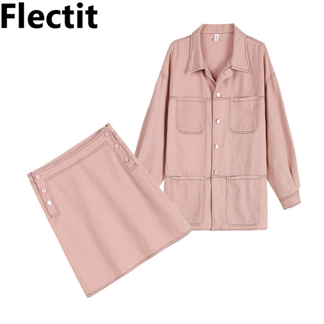 ffbf4b482da Flectit Dusty Pink Beige Women Two Piece Suit Long Denim Jacket Top and  Skirt Set Matching
