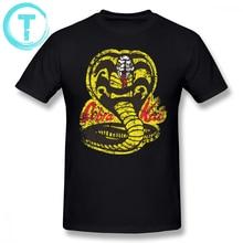 Cobra Kai T Shirt Cobra Kai T-Shirt Short-Sleeve Oversized Tee Shirt Printed Cotton Classic Men Fun Tshirt цены