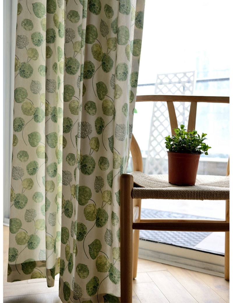 Green Kitchen Curtain Patterns Leaves Pastoral Style Door Divider Drapes Polyester Cotton Living Room Window Treatments
