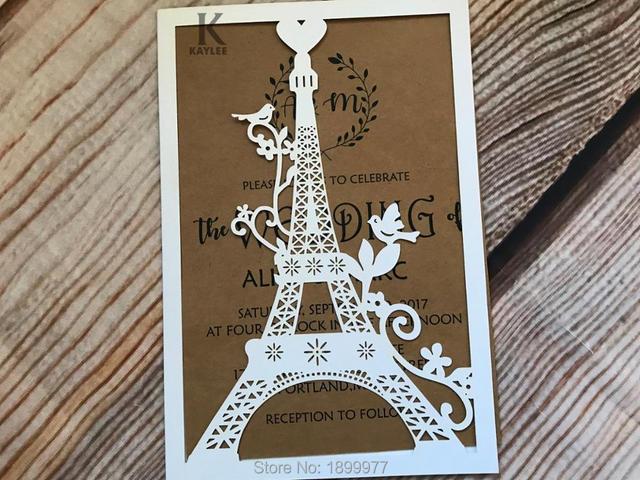 50pcs Eiffel Tower Wedding Invitation Cards,Decorative Holiday