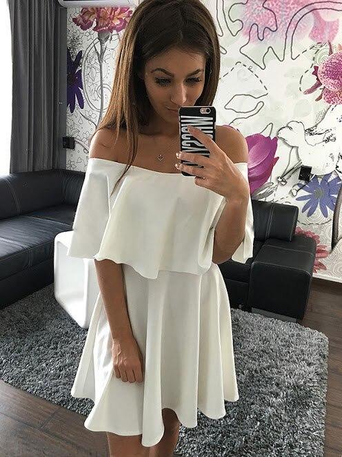 Slae Ruche 2019 Sexy As Robe Photo Décontracté De Collier Solide Femmes Manches Robes Chaude Slash D'été QCthsxrd