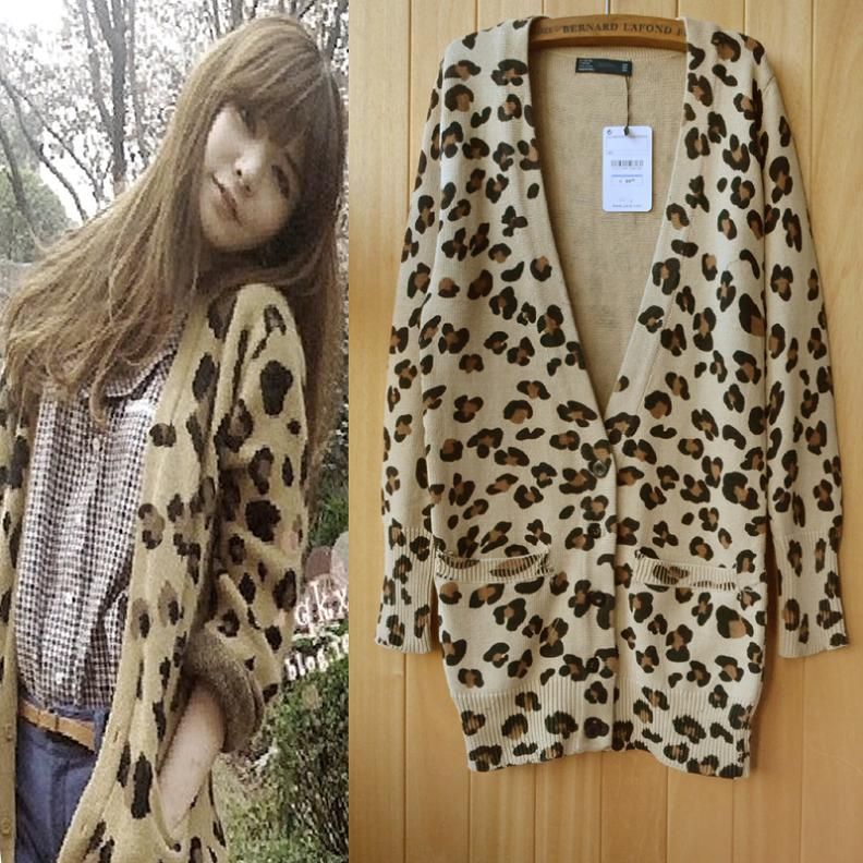2014 spring women's medium long V neck leopard print cardigan ...