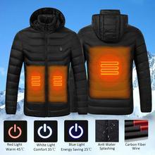 Mens Winter USB Heating Jacket Men Waterproof Reflective Hooded Coat Male Warm Parka Cotton Windbreaker Mens Rain Jackets