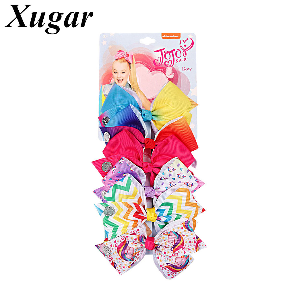 6 Pieces/Set Hair Bow For Girls Rainbow Printed Hair Clips With Gift Card Hairgrips Party Kids Hair Accessories