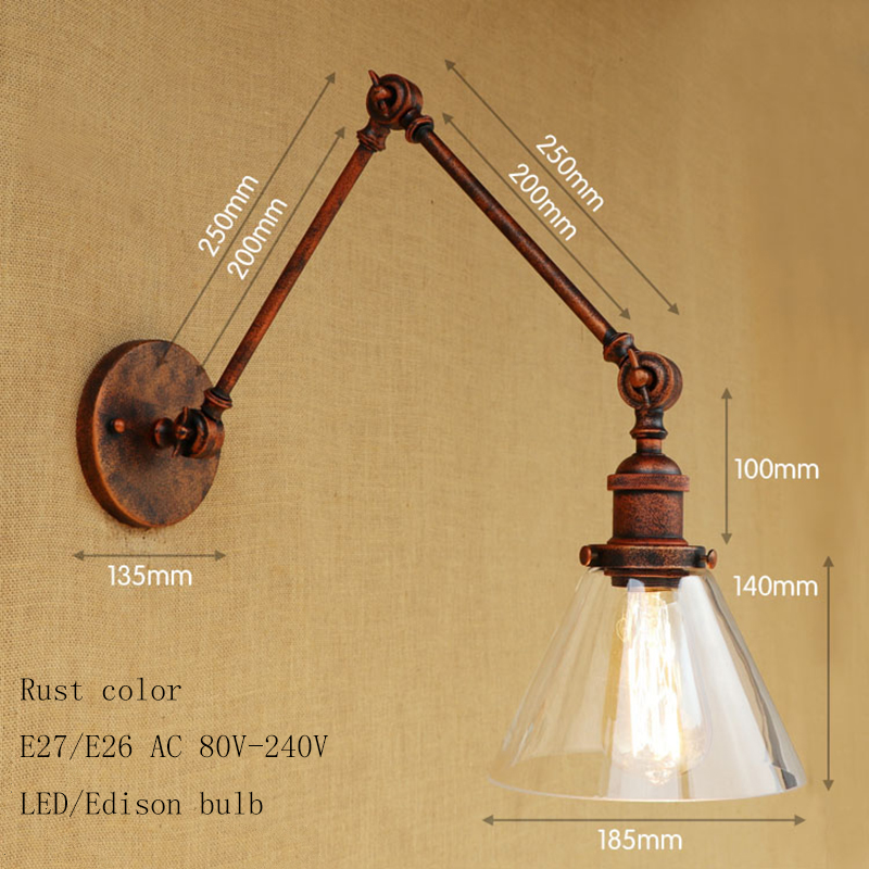 Wall Lamps Modern Retro Metal Wall Light Industrial Clear Glass Lampshade Free Adjust Long Swing Arms For Living Room Restaurant Bar E27 Lamps & Shades