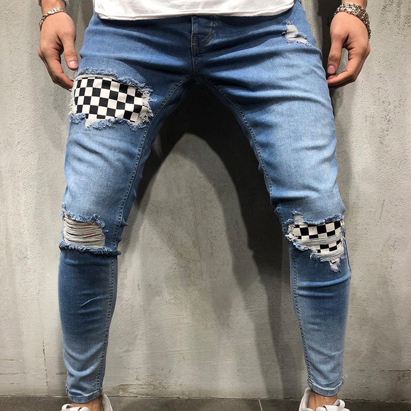 Men Stretchy Ripped Skinny Biker Hole Jeans Destroyed Frayed Slim Fit Denim Long Pants Stretch Hop Hop Pants Cool Streetwear