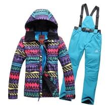 FREE SHIPPING new 2016 women winter cotton coat set hiking outdoor jacket women coat set ski suit skiing set women