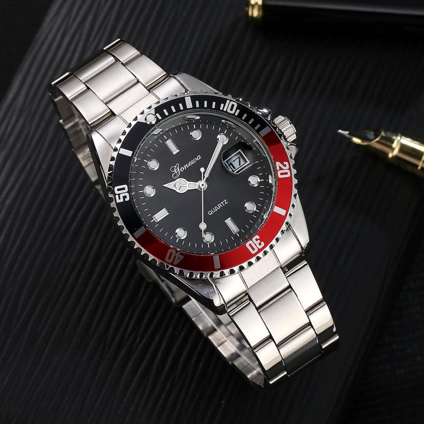 2018 New Fashion Military Stainless Steel Date Sport Quartz Analog Mens Wristwatch stylish male business watches gentlemen gift