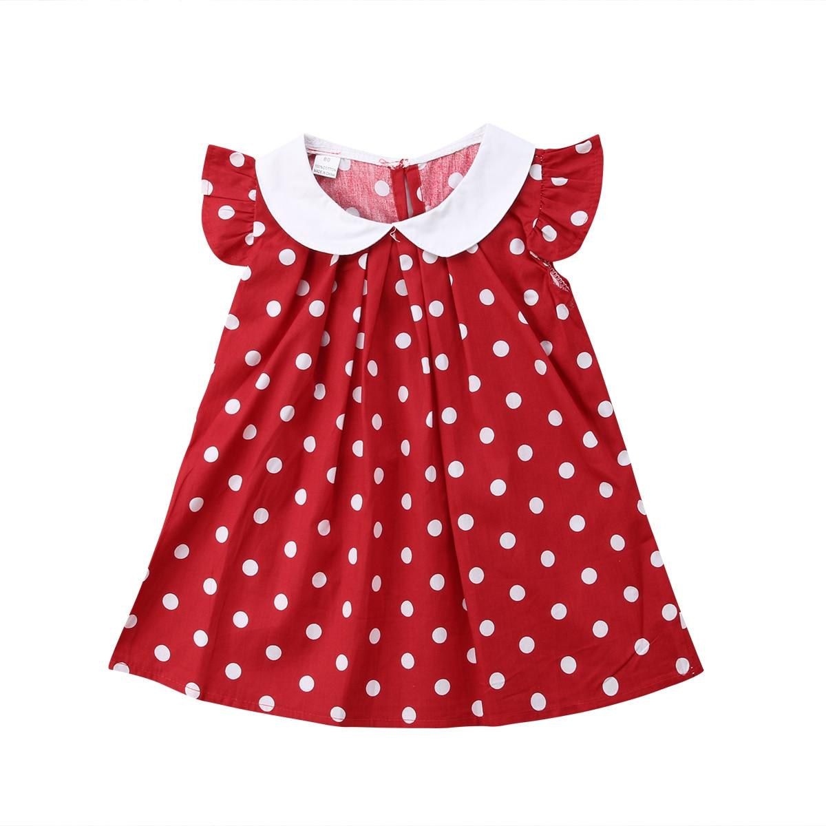 Prinzessin Baby Mädchen Dot Roten Kleid Peter pan kragen Neugeborenen Baby Mädchen Patry Geburtstag Kleid 2019 Neue