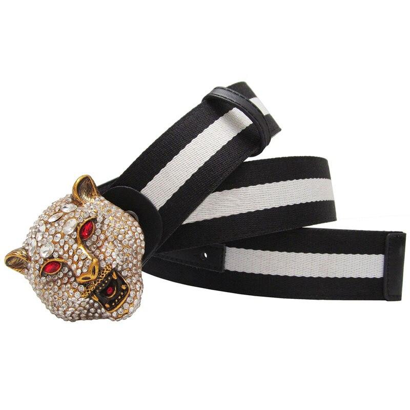 Western Rhinestone Leopard Head Buckle Contrast Color Canvas leather belt Men Strap