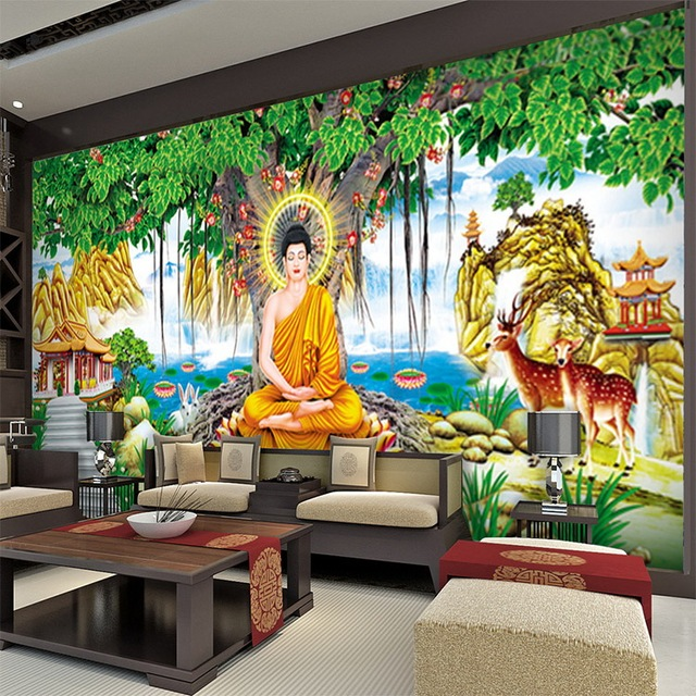US $14 3 45% OFF|Aliexpress com : Buy Custom art wallpaper large banyan  tree Statue Buddha wallpaper for children's room Hotel backdrop wall papers