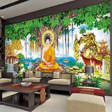 Custom Art Wallpaper Large Banyan Tree Statue Buddha For Childrens Room Hotel Backdrop Wall Papers