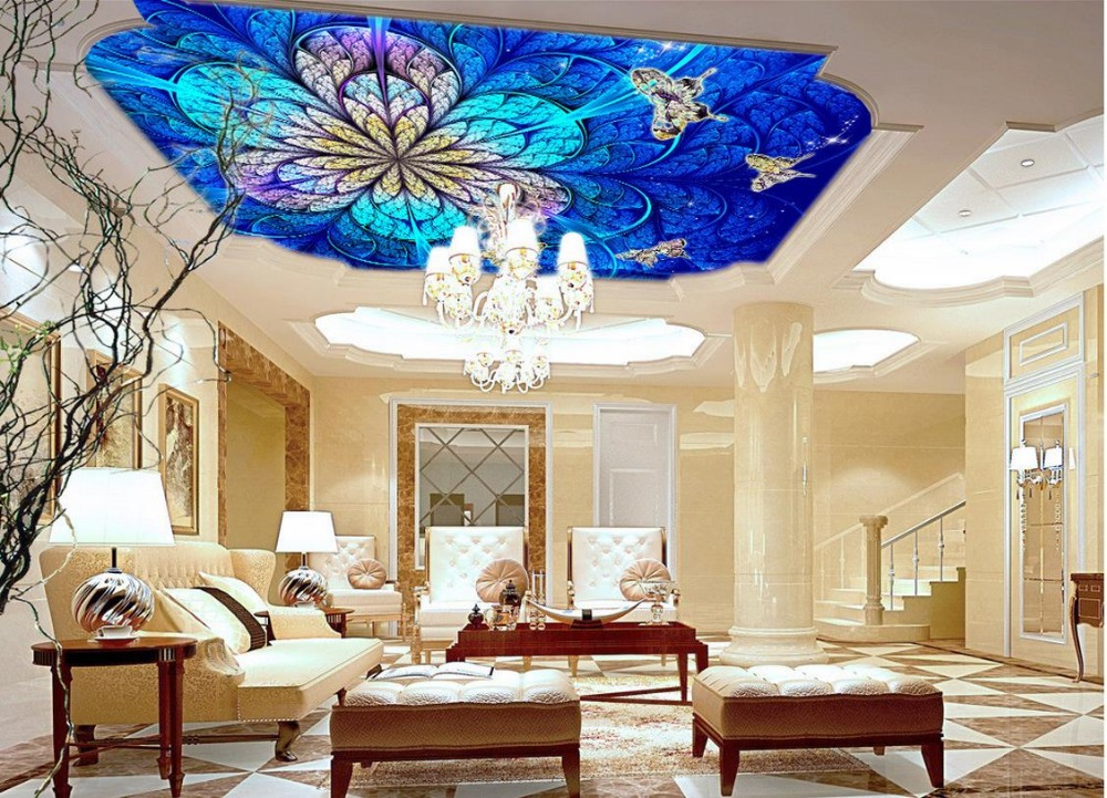 Popular butterfly ceiling murals wallpaper buy cheap for Butterfly mural wallpaper