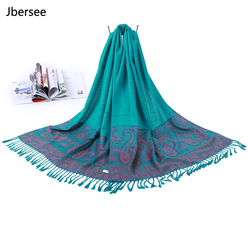 Jbersee Cashmere Scarf Vintage Tassel Winter Women Scarf Long Size Shawls and Wraps Ladies Soft Warm Poncho Women Scarves WN008