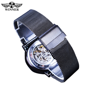 Image 5 - Winner 2019 Fashion Black Golden Mesh Belt Waterproof Luminous Hands Mechanical Wrist Watches Top Brand Luxury Business Clock
