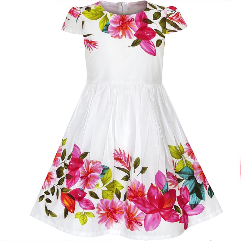 Girls Dress Flower Cap Sleeve Summer Sundress Cotton 2017 Summer Princess Wedding Party Dresses Children Clothes Size 2-6 girls dresses summer 2016 performance clothing girls princess dress children dress flower wedding dress girls clothes