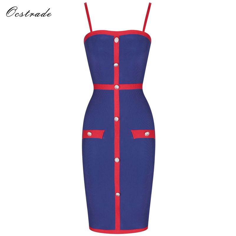Ocstrade Christmas Party New Bandage Dress 2019 Ladies Navy and Red Embellished Bodycon High Quality Bandage