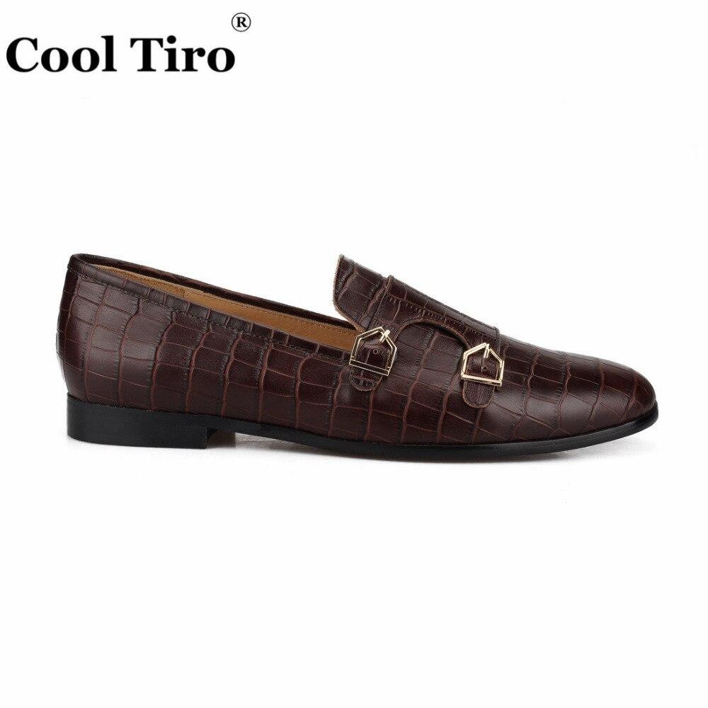 Fajne TIRO krokodyl drukuj Double Monk mokasyny męskie mokasyny smokingowe kapcie suknia ślubna buty męskie mieszkania buty w stylu casual skórzane w Męskie nieformalne buty od Buty na  Grupa 2