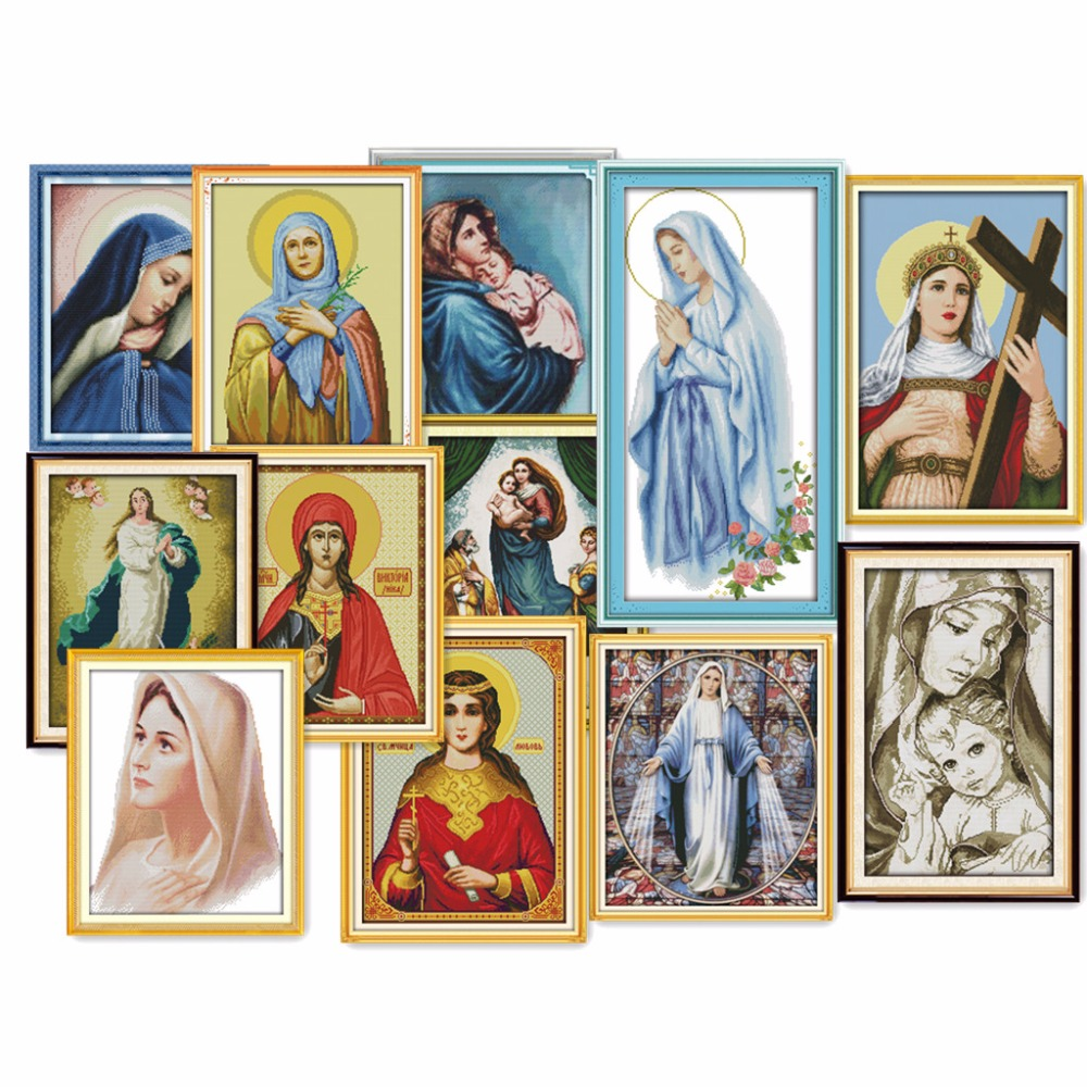 Everlasting love all kinds of Virgin Mary Ecological cotton Cross Stitch kits 14CT clear Printed DIY wedding decoration for home