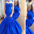 Custom Made Evening Gowns Floor Length Sheer Crew Neckline Royal Blue Satin Mermaid Backless Evening Dresses 2015 Vestidos