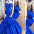 Por encargo Vestidos de noche de longitud piso Sheer Crew escote Royal Blue Satin sirena sin respaldo Vestidos noche 2015 Vestidos