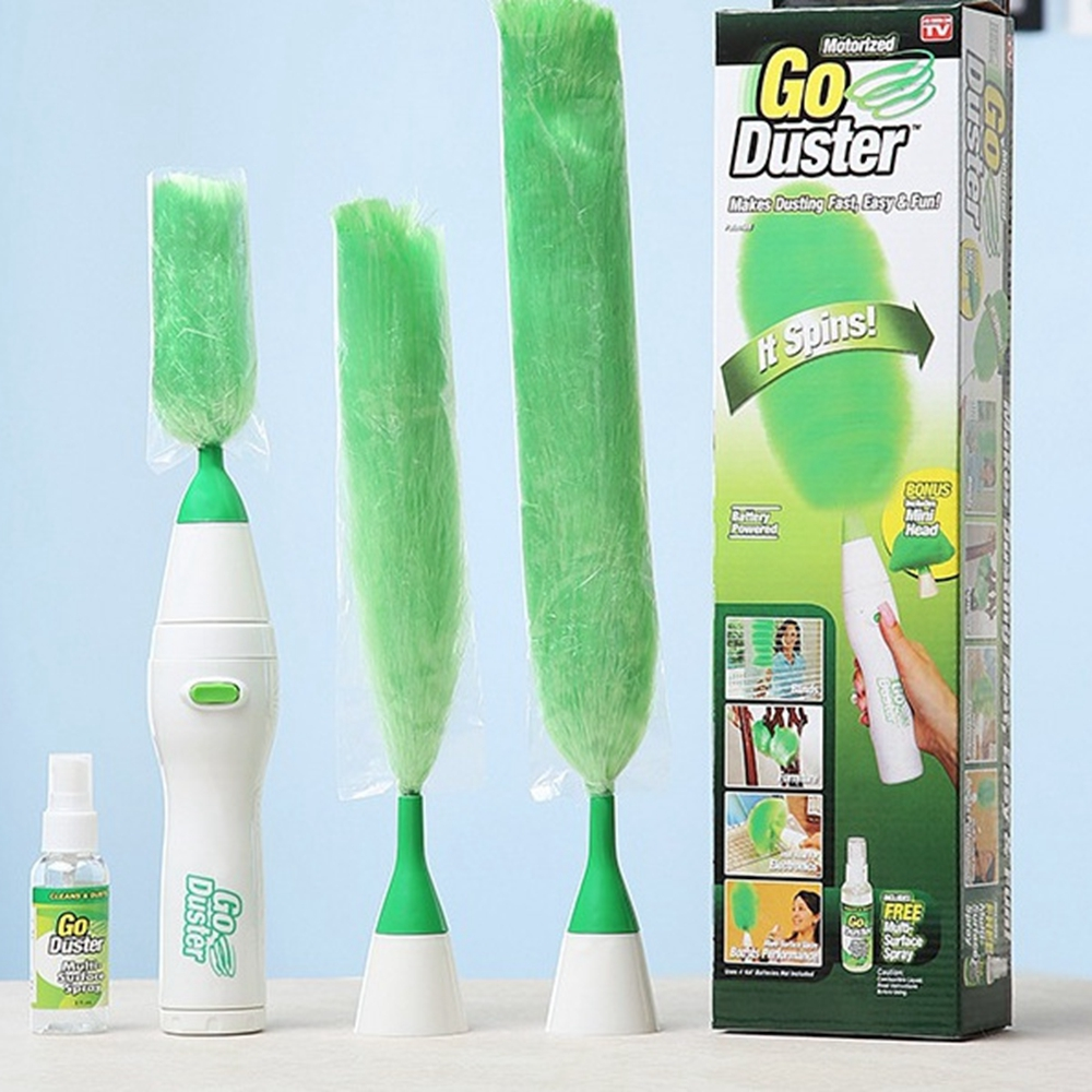 Electric Dust Brush Multifunction Green Feather Duster Dust Brush Window Cleaner for curtains Home cleaning