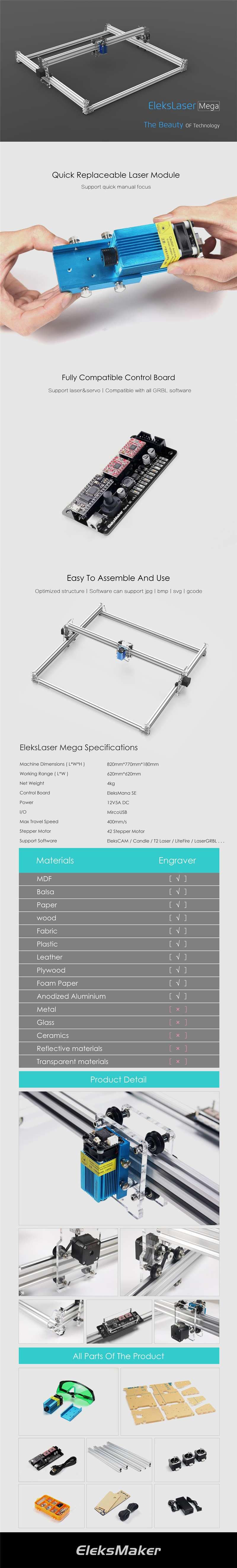 EleksMaker 62x62cm EleksLaser-Mega 5 5W/7W 445nm Laser Engraving Machine  CNC Laser Printer New