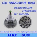 Free shipping 10pcs/lot High power Led PAR Lamp Dimmable E27 PAR20/30/38 9W/10W/14W/15W/25W/30W 110-240V Led spotlight bulb
