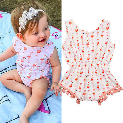 2017 New Sweet Infant Baby Girls Sleeveless Swan Romper Jumpsuit Summer Clothes Outfits Set