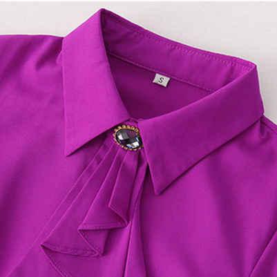 Элегантная женская рубашка с длинным рукавом, осенняя, белая, фиолетовая, с галстуком-бабочкой, шифоновая, женская блузка, одежда для работы, официальная, офисная, размера плюс, топ небесно-голубого цвета