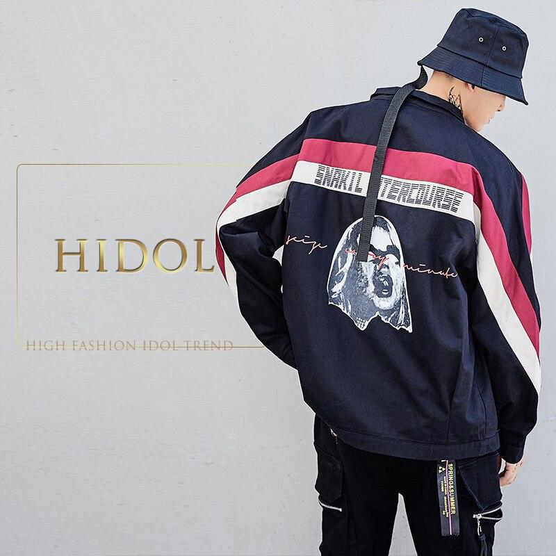 Oversize Contrast Striped Splice Jacket Black/Blue Character Letter Print Bomber Coat Men Streetwear Hip Hop Swag Brand Clothing contrast striped letter print bedding set