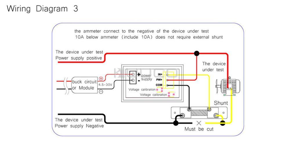 2in1 Digital Tester DC 0 ~100V/50A Voltmeter Ammeter Red Led Display