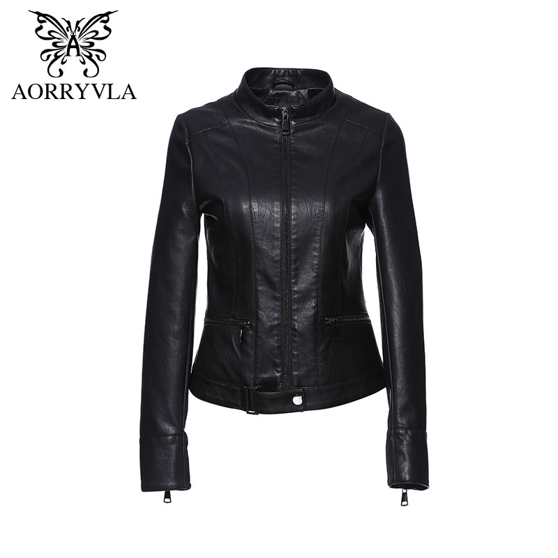 AORRYVLA Faux   Leather   Jacket Women Belt Spring Autumn Black Motorcycle Jacket Black Outerwear   Leather   Jackets Brands Top Quality