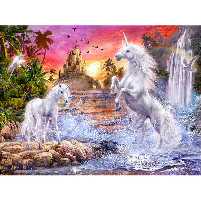 Kawaii Fall Wallpaper Full Round Diamond 3d Unicorn Waterfall And Sunset