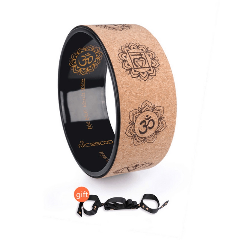 Cork Yoga Circle Painted Inner Laser Engraving Round Exercise Wheel Sports Bodybuilding Sliming Tool Pilates Fitness