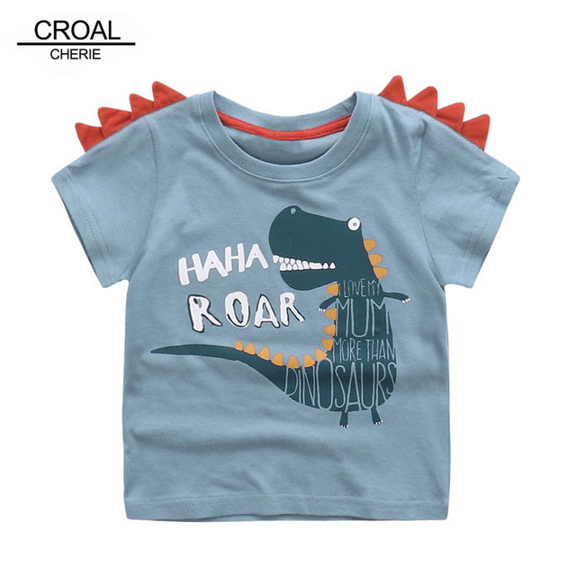 5c348c59e3047 CROAL CHERIE 90-130cm Cute Dinosaur 3D Kids Boys Summer T-Shirt Children's  Shirts Animal Bear Elephant Girls Tee Tops Clothing