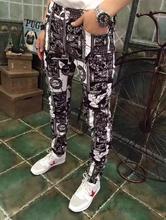 Черно-белой печати тонкий мужские джинсы 1 джинсы брюки человек прямо персонализированные luxury brand мода упругие Ноги брюки